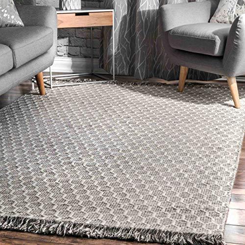 NuLOOM BeeHive Tassel Wool Rug 6 X 9 Grey 0
