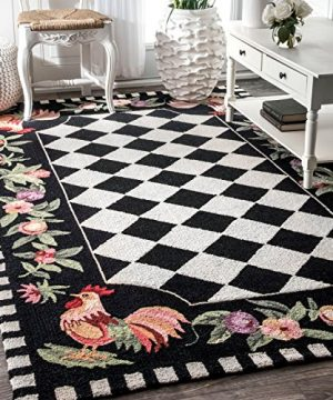 NuLOOM Farmhouse Rooster Area Rug 5 X 8 Black 0 300x360