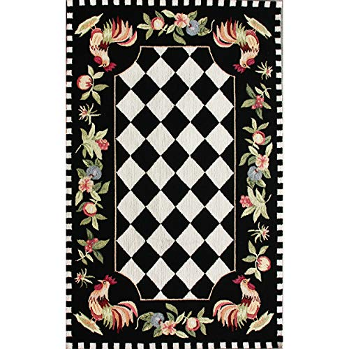 NuLOOM Farmhouse Rooster Area Rug 6 X 9 Black 0 0