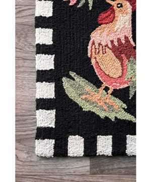 NuLOOM Farmhouse Rooster Area Rug 6 X 9 Black 0 1 300x360