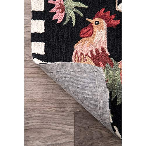 NuLOOM Farmhouse Rooster Area Rug 6 X 9 Black 0 2
