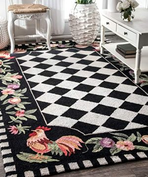 NuLOOM Farmhouse Rooster Area Rug 6 X 9 Black 0 300x360
