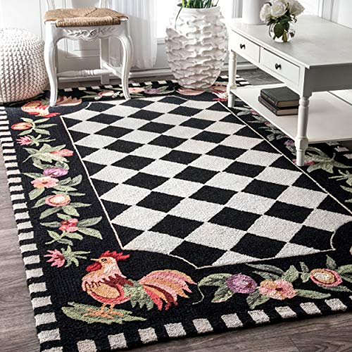 NuLOOM Farmhouse Rooster Area Rug 6 X 9 Black 0