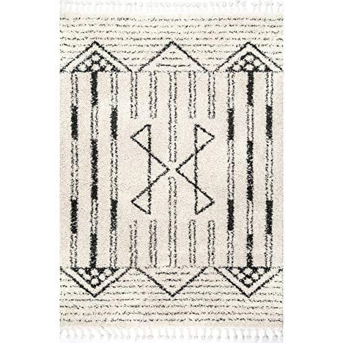 NuLOOM Janna Striped Shag Rug 4 X 6 Off White 0 0