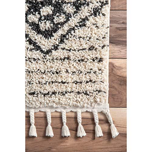 NuLOOM Janna Striped Shag Rug 4 X 6 Off White 0 2