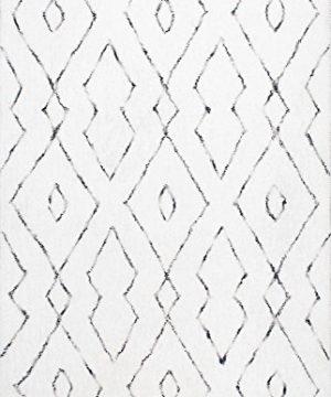 NuLOOM Lauren Lattice Shag Rug 5 X 8 White 0 2 300x360