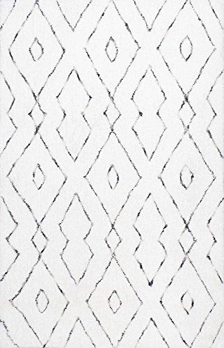 NuLOOM Lauren Lattice Shag Rug 5 X 8 White 0 2