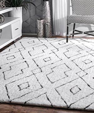 NuLOOM Lauren Lattice Shag Rug 5 X 8 White 0 300x360