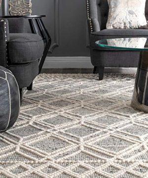 NuLOOM Natti Contemporary Trellis Wool Area Rug 6 X 9 Grey 0 300x360