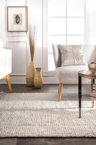 NuLOOM Natura Collection Chunky Loop Jute Rug 3 X 5 Off White 0 1