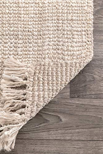 NuLOOM Natura Collection Chunky Loop Jute Rug 3 X 5 Off White 0 3