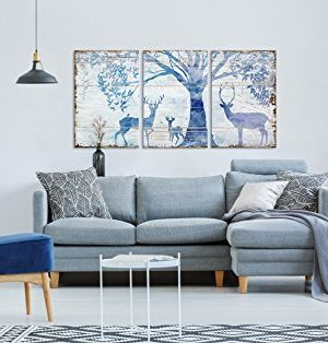 Wall26 3 Panel Animal Canvas Wall Art Deers In Forest Under Tress Rustic Artwork On Wooden Background Giclee Print Gallery Wrap Modern Home Decor Ready To Hang 24x36 X 3 Panels 0 0 300x314