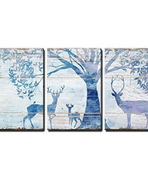 Wall26 3 Panel Animal Canvas Wall Art Deers In Forest Under Tress Rustic Artwork On Wooden Background Giclee Print Gallery Wrap Modern Home Decor Ready To Hang 24x36 X 3 Panels 0 300x360