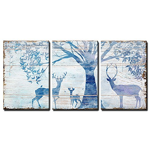 Wall26 3 Panel Animal Canvas Wall Art Deers In Forest Under Tress Rustic Artwork On Wooden Background Giclee Print Gallery Wrap Modern Home Decor Ready To Hang 24x36 X 3 Panels 0