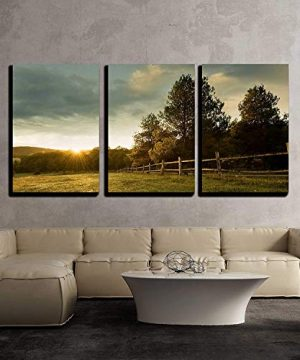 Wall26 3 Piece Canvas Wall Art Beautiful Sunrise On The Farm Modern Home Decor Stretched And Framed Ready To Hang 24x36x3 Panels 0 0 300x360