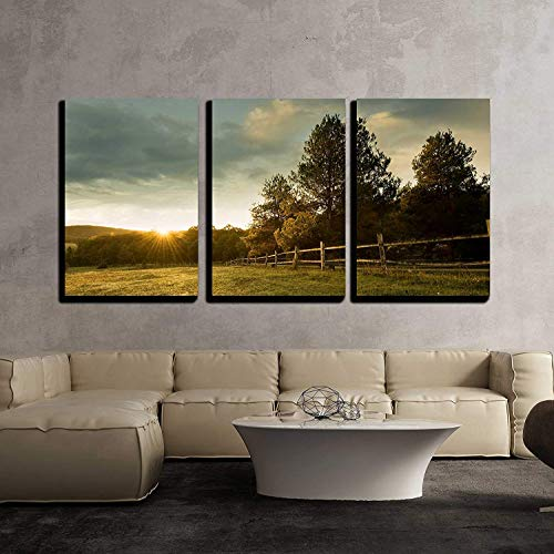 Wall26 3 Piece Canvas Wall Art Beautiful Sunrise On The Farm Modern Home Decor Stretched And Framed Ready To Hang 24x36x3 Panels 0 0
