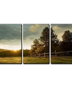Wall26 3 Piece Canvas Wall Art Beautiful Sunrise On The Farm Modern Home Decor Stretched And Framed Ready To Hang 24x36x3 Panels 0 300x360