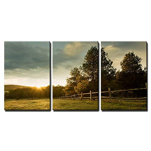 Wall26 3 Piece Canvas Wall Art Beautiful Sunrise On The Farm Modern Home Decor Stretched And Framed Ready To Hang 24x36x3 Panels 0