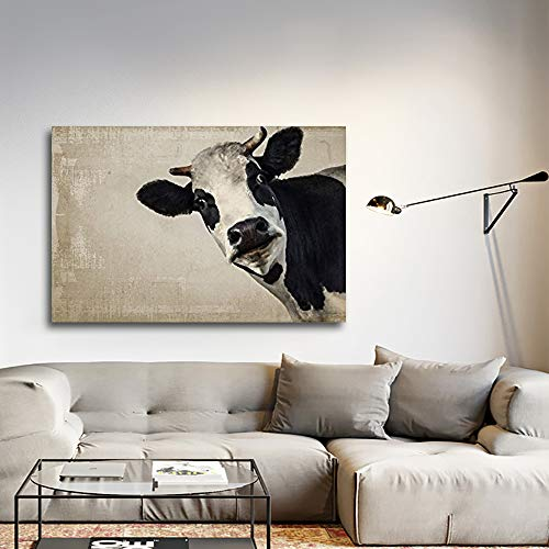 Wall26 A Cow On Vintage Background Gallery Canvas Art Wall Decor 24x36 0
