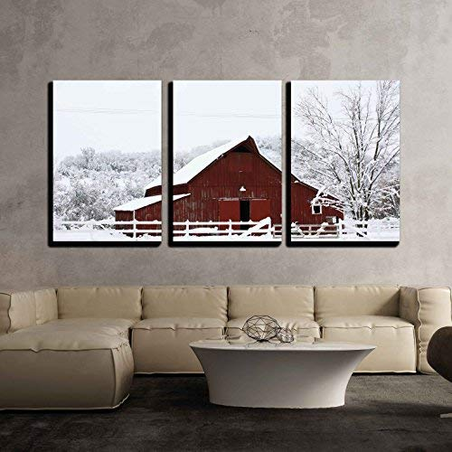 Wall26 Big Red Barn In The Snow Canvas Art Wall Decor 16x24x3 Panels 0 0