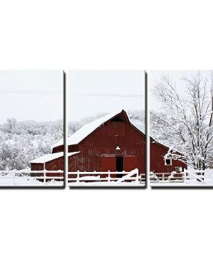 Wall26 Big Red Barn In The Snow Canvas Art Wall Decor 16x24x3 Panels 0 300x360
