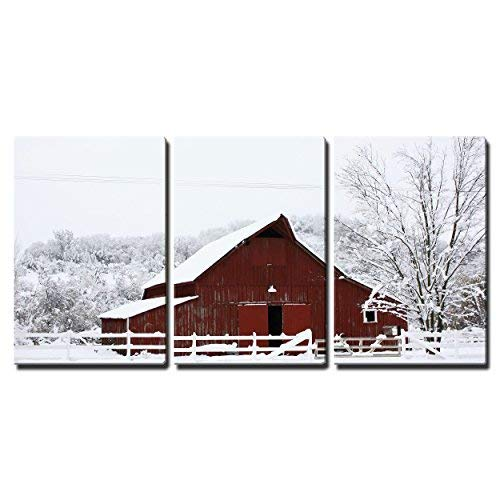 Wall26 Big Red Barn In The Snow Canvas Art Wall Decor 16x24x3 Panels 0
