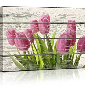 Wall26 Bouquet Of Beautiful Pink Tulips Artwork Rustic Canvas Wall Art Home Decor 12x18 Inches 0 300x360