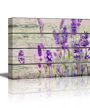 Wall26 Canvas Prints Wall Art Retro Style Purple Flowers On Vintage Wood Background Rustic Home Decoration 24 X 36 0 300x360