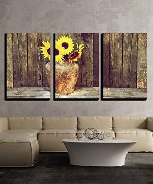 Wall26 Rustic Vase With Sunflowers Canvas Art Wall Decor 16x24x3 Panels 0 0 300x360