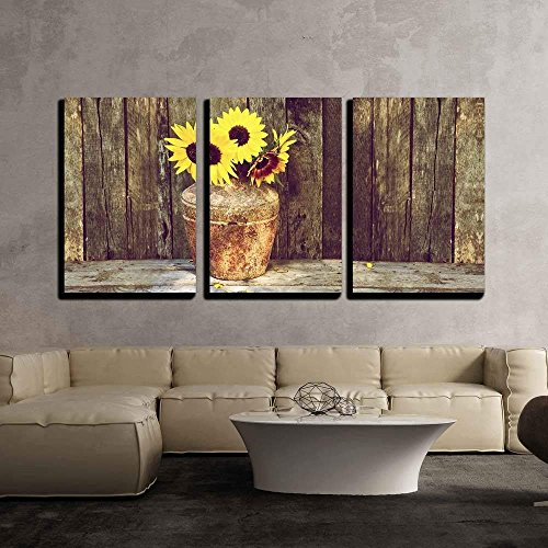 Wall26 Rustic Vase With Sunflowers Canvas Art Wall Decor 16x24x3 Panels 0 0