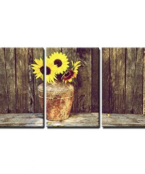 Wall26 Rustic Vase With Sunflowers Canvas Art Wall Decor 16x24x3 Panels 0 300x360