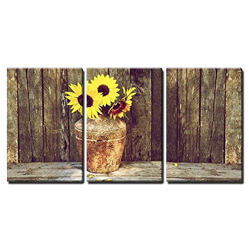 Wall26 Rustic Vase With Sunflowers Canvas Art Wall Decor 16x24x3 Panels 0