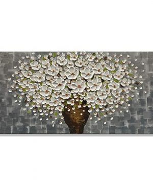 Zoinart Oil Paintings 2448 3D Canvas Wall Art White Flower Vases Decorations Blooming Floral Paintings Framed Wall Pictures For Dining Room Bedroom Office Kitchen Living Room WallsYH B43 0 300x360