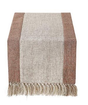 15 X 90 Inch Rustic Woven Table Runner With Handmade Fringe Buffalo Checks Burlap Dining Table Runners For Family Dinner Farmhouse Decorations Beige 0 300x360