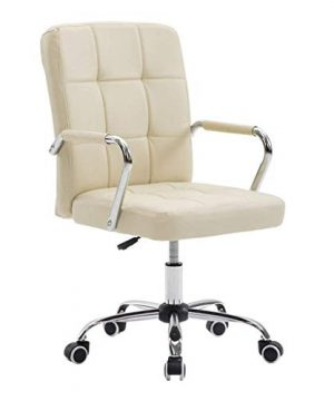 AGTRRYHZ High Back Computer Chair Adjustable Swivel PU Backrest Office Chairs With Chrome Base And Armrests Home Indoor Ergonomic Seat Creamy White 0 300x360