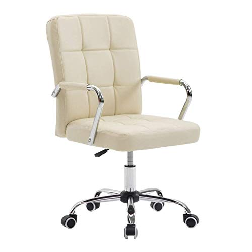 AGTRRYHZ High Back Computer Chair Adjustable Swivel PU Backrest Office Chairs With Chrome Base And Armrests Home Indoor Ergonomic Seat Creamy White 0
