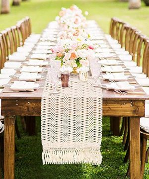 AerWo Macrame Table Runner 108 Inches Boho Woven Cotton Crochet Lace Farmhouse Moroccan Woven Table Runner With Tassels For Bohemian Dinner Rustic Table Top Bridal Shower Wedding Table Decorations 0 0 300x360
