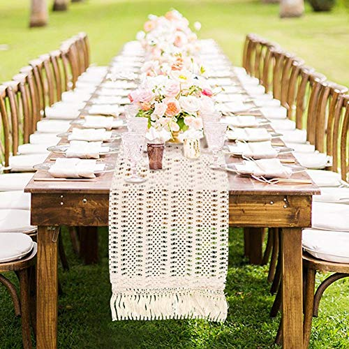AerWo Macrame Table Runner 108 Inches Boho Woven Cotton Crochet Lace Farmhouse Moroccan Woven Table Runner With Tassels For Bohemian Dinner Rustic Table Top Bridal Shower Wedding Table Decorations 0 0