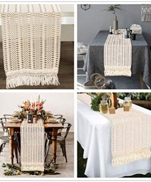 AerWo Macrame Table Runner 108 Inches Boho Woven Cotton Crochet Lace Farmhouse Moroccan Woven Table Runner With Tassels For Bohemian Dinner Rustic Table Top Bridal Shower Wedding Table Decorations 0 1 300x360