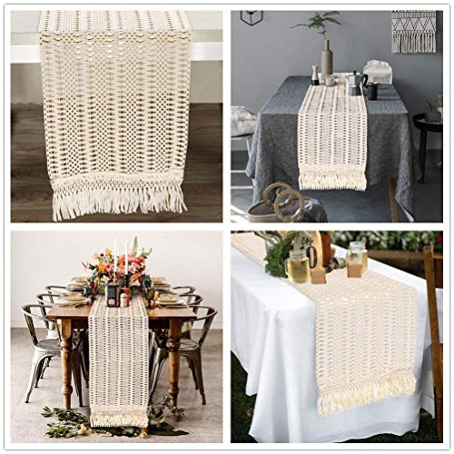 AerWo Macrame Table Runner 108 Inches Boho Woven Cotton Crochet Lace Farmhouse Moroccan Woven Table Runner With Tassels For Bohemian Dinner Rustic Table Top Bridal Shower Wedding Table Decorations 0 1