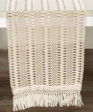 AerWo Macrame Table Runner 108 Inches Boho Woven Cotton Crochet Lace Farmhouse Moroccan Woven Table Runner With Tassels For Bohemian Dinner Rustic Table Top Bridal Shower Wedding Table Decorations 0 300x360