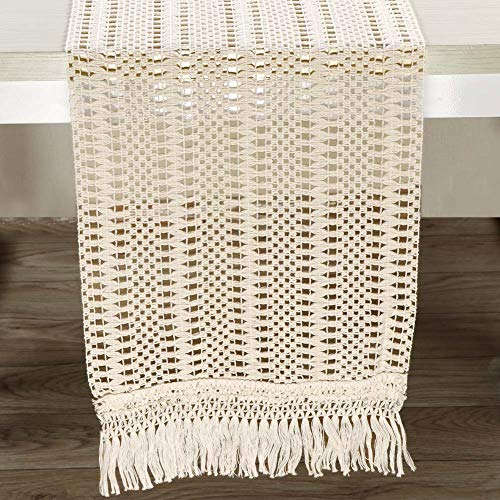 AerWo Macrame Table Runner 108 Inches Boho Woven Cotton Crochet Lace Farmhouse Moroccan Woven Table Runner With Tassels For Bohemian Dinner Rustic Table Top Bridal Shower Wedding Table Decorations 0