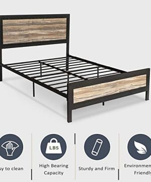 Allewie Full Size Bed Frame With Wood HeadboardPlatform Metal Bed Frame With FootboardMattress FoundationEasy AssemblyBox Spring Optional 0 0 300x360