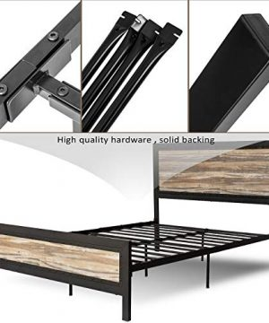 Allewie Full Size Bed Frame With Wood HeadboardPlatform Metal Bed Frame With FootboardMattress FoundationEasy AssemblyBox Spring Optional 0 1 300x360