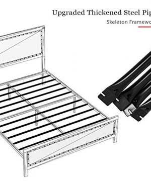 Allewie Full Size Bed Frame With Wood HeadboardPlatform Metal Bed Frame With FootboardMattress FoundationEasy AssemblyBox Spring Optional 0 2 300x360