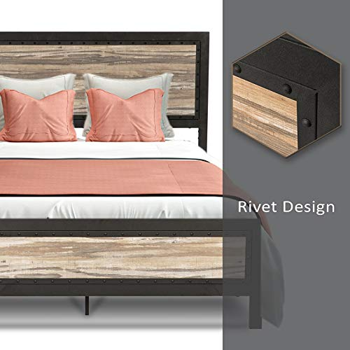 Allewie Full Size Bed Frame With Wood HeadboardPlatform Metal Bed Frame With FootboardMattress FoundationEasy AssemblyBox Spring Optional 0 3