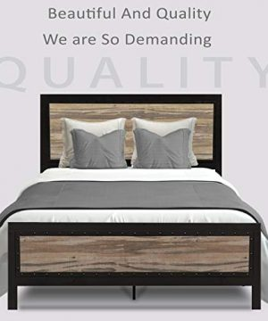 Allewie Full Size Bed Frame With Wood HeadboardPlatform Metal Bed Frame With FootboardMattress FoundationEasy AssemblyBox Spring Optional 0 300x360