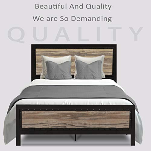 Allewie Full Size Metal Platform Bed Frame With Wooden Headboard And Metal Slats Rustic Country Style Mattress Farmhouse Goals