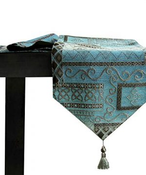 Artbisons Table Runner Handmade Golden Table Runner 84x13 Blue Abstract 0 300x360