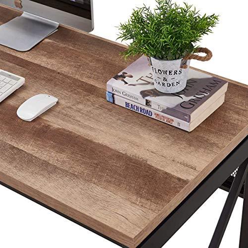 BON AUGURE Industrial Office Computer Desk Wood And Metal Writing Gaming Desk Workstation Desk For Home Office 60 Inch Vintage Oak 0 1